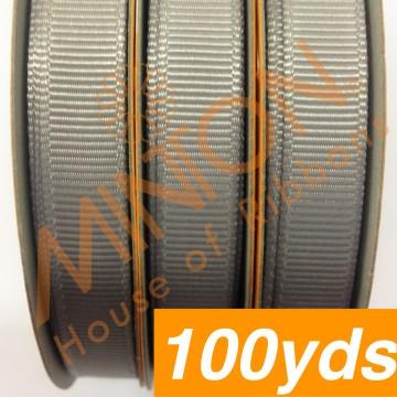 10mmx100yds Grosgrain Silver