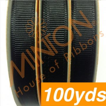 10mmx100yds Grosgrain Black