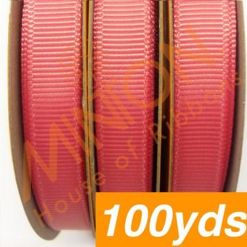 10mmx100yds Grosgrain Coral Rose