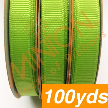 10mmx100yds Grosgrain Apple Green