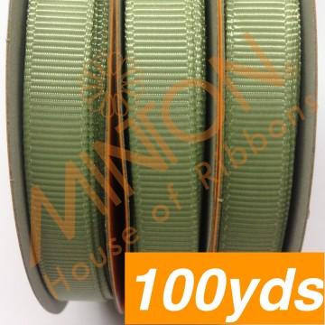 10mmx100yds Grosgrain Spring Moss