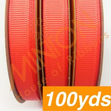 10mmx100yds Grosgrain Neon Orange