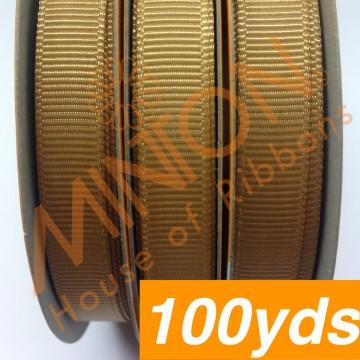 10mmx100yds Grosgrain Pale Gold