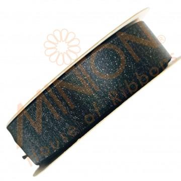 22mmx20yds Purl Satin Black/Silver Thread