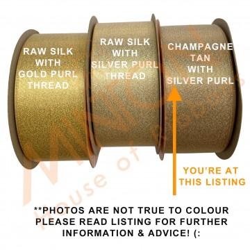 38mmx20yds Purl Satin Champagne Tan Gold/Silver Thread