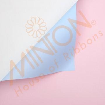 Duo Colour BOPP Plastic Wrapper, 58cmx58cmx20pieces Baby Pink/Light Blue