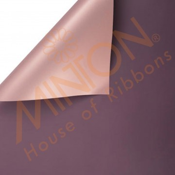 Duo Colour BOPP Plastic Wrapper, 58cmx58cmx20pieces Amethyst Purple/Rose Gold