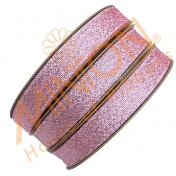 12mmx25yds Met.Pink/Silver Ribbon