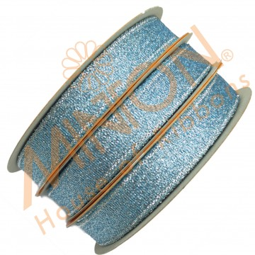 12mmx25yds Met.Lt.Blue/Silver Ribbon