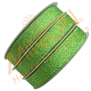 12mmx25yds Met.Green/Gold Ribbon