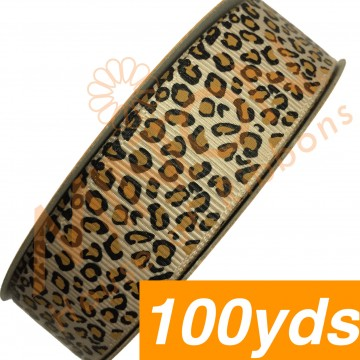 22mmx100yds Grosgrain Leopard Prints Tan