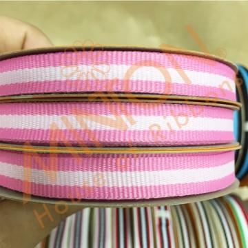 10mmx15yds Tri-Colour Jacquard Ribbon Pink/Lt.Pink/Pink