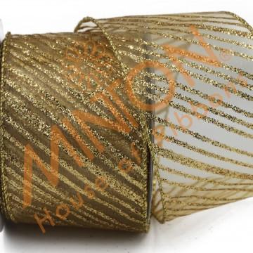 63mmx10yds Diagonal Stripes Wired Ribbon Gold