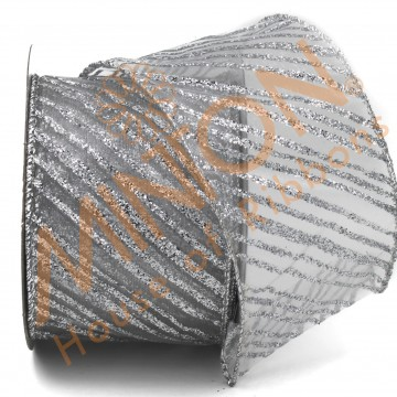 63mmx10yds Diagonal Stripes Wired Ribbon Silver