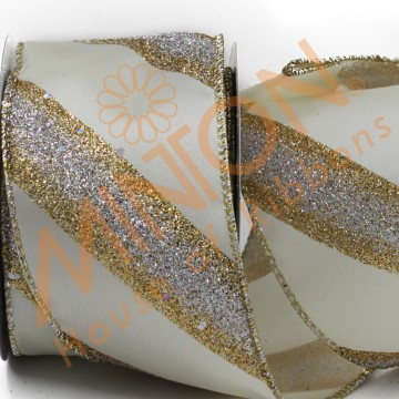 63mmx10yds Gold/Silver Diagonal Stripes Wired Ribbon